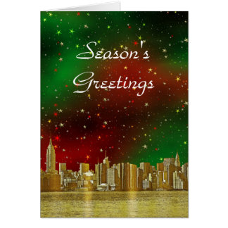 Gold NYC Skyline #1 Christmas Red Green Starry Card