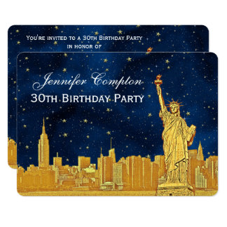 Gold NYC Skyline #2 Etch Blue Starry BG H Birthday Card