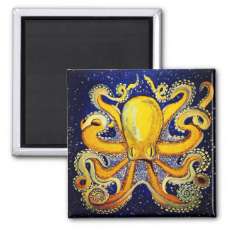 Gold Octopus in Blue Square Magnet