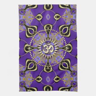 Gold OM Purple Goa Skies New Age Home Decor Tea Towel