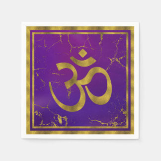 Gold OM symbol - Aum, Omkara  on Purple/Indigo Disposable Napkin