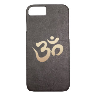 Gold Om Symbol Faux Leather iPhone 7 Case