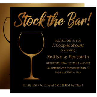 Gold Ombre & Black Stock the Bar Couples Shower Card