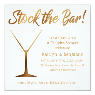 Gold Ombre & White Couples Stock the Bar Shower Card