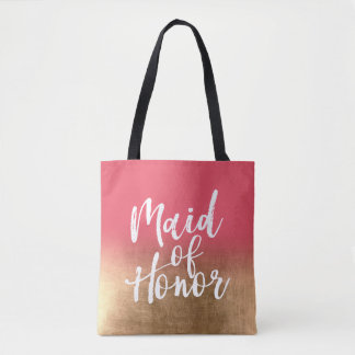 Gold Ombre with Custom Color Maid of Honor Tote Bag