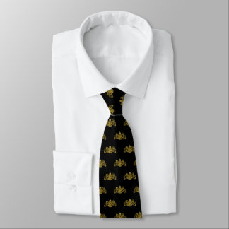 Gold On Black Lion Unicorn Emblem Tuxedo Tie