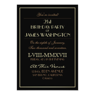 Gold on Black Roman Numerals | 21st Birthday Party Card