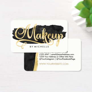 Gold on Black Watercolor Swash MAKEUP Artist Cards