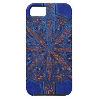 Gold on Blue Chaos Case For The iPhone 5