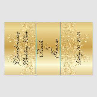 Gold on Gold Wedding Wine Label Sticker