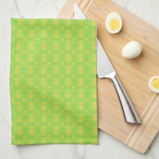 Gold on Green Abstract Pattern Tea Towel