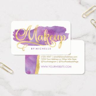 Gold on Purple Watercolor Swash MAKEUP Artist Card