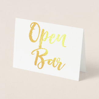Gold Open Bar Special Occasion Wedding Sign Foil Card