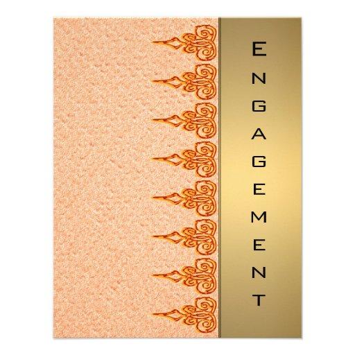 gold  orange ethnic new age  engagement invitation
