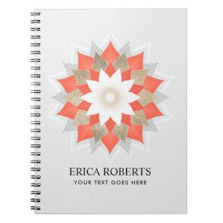 Gold & Orange Lotus Flower Yoga Wellness Elegant Notebooks