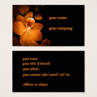 Gold orchids on black business cards