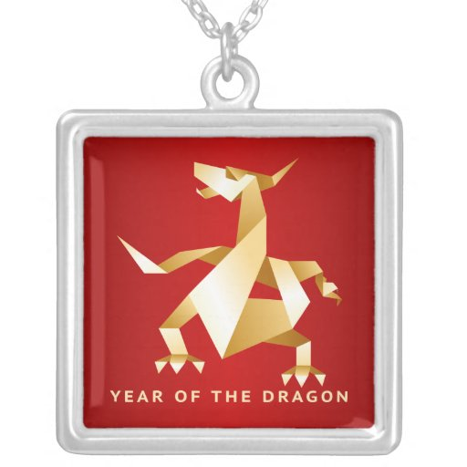 Gold Origami Year of the Dragon on Red 2012 Jewelry