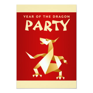 Gold Origami Year of the Dragon on Red Party Card