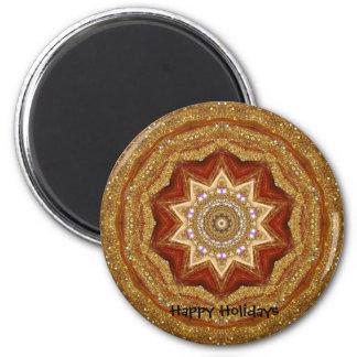gold ornament artwork, Happy Holidays 6 Cm Round Magnet