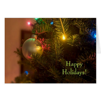 Gold Ornament Bauble Tree Lights Christmas Greeting Card