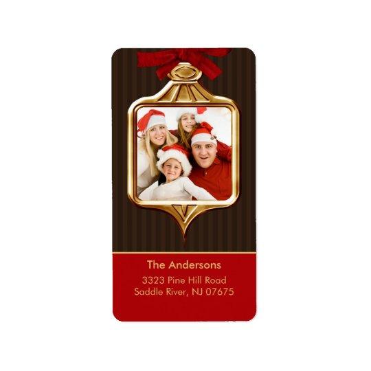 Gold Ornament Frame PHOTO Return Address Label