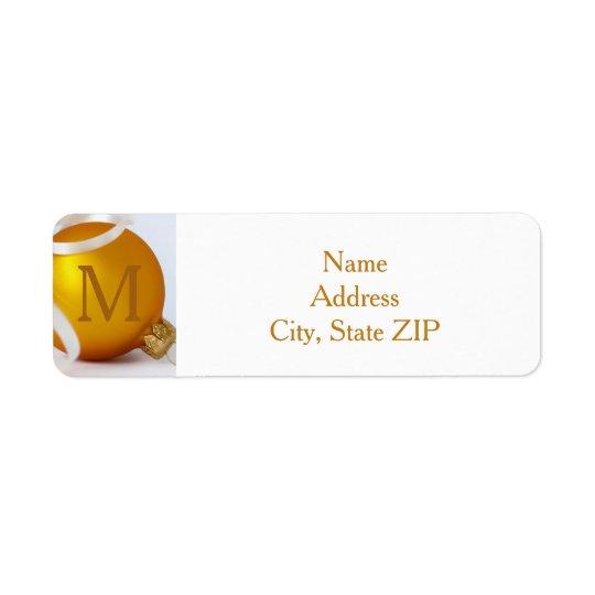 Gold Ornament with Monogram Return Address Label