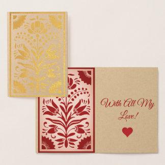 Gold Ornamental Fllowers Foil Card