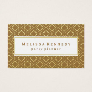 Gold Ornamental Pattern Business Cards Brown