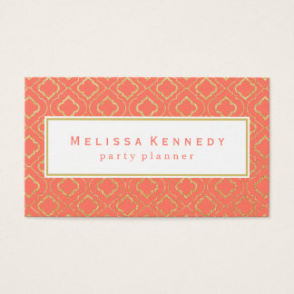 Gold Ornamental Pattern Business Cards Coral