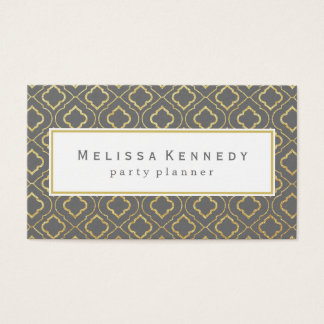 Gold Ornamental Pattern Business Cards Gray