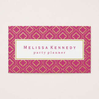Gold Ornamental Pattern Business Cards Hot Pink