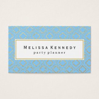 Gold Ornamental Pattern Business Cards Light Blue