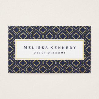 Gold Ornamental Pattern Business Cards Navy Blue