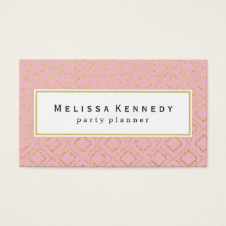 Gold Ornamental Pattern Business Cards Pink