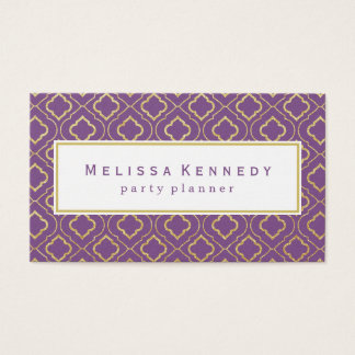 Gold Ornamental Pattern Business Cards Purple