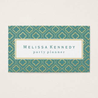 Gold Ornamental Pattern Business Cards Teal