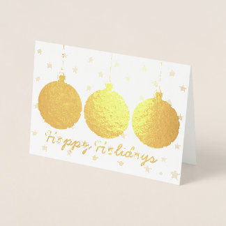 Gold Ornaments and Stars Christmas Card