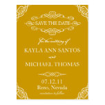 Gold Ornate Flourish Save the Date Post Card