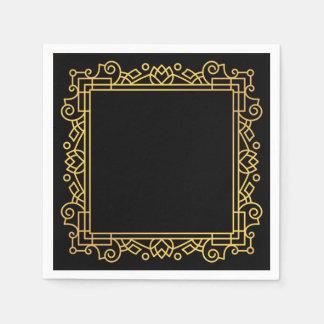 Gold Ornate Frame Black Disposable Napkins