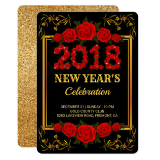 Gold Ornate | Red Roses 2018 New Year's Eve Party Card