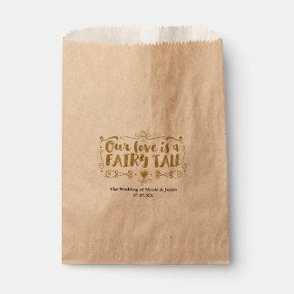 Gold OUR LOVE IS A FAIRY TALE Custom Wedding Favor Favour Bag