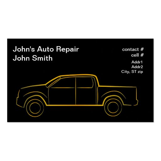 Gold outline four door pickup business card templates