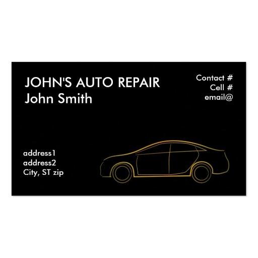 Gold outline four door sedan business card templates