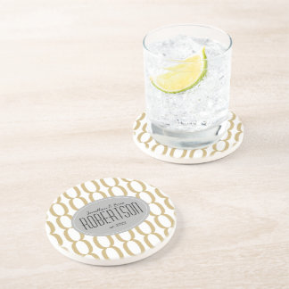 Gold Oval Chain Pattern Newlywed Personalized Coaster