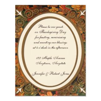 "Gold Oval Frame on Ecru with Fall Leaf Background 4.25"" X 5.5"" Invitation Card"