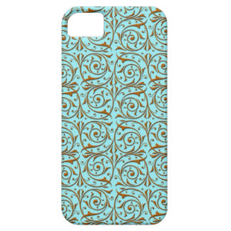 Gold over Teal Blue Green Vine Pattern iPhone 5 Covers