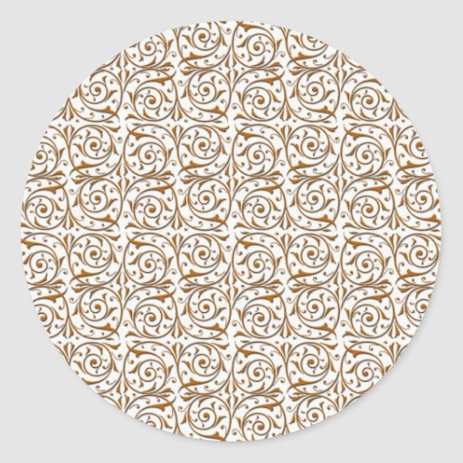 Gold over White Swirling Vines Pattern Stickers