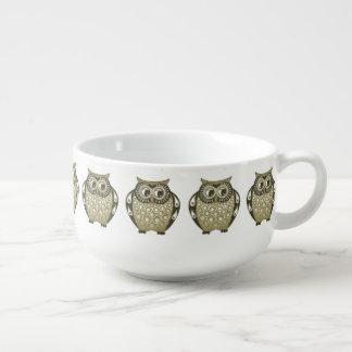 Gold Owls Soup Mug