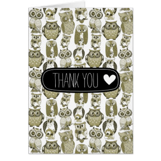 Gold Owls thank you Note Card