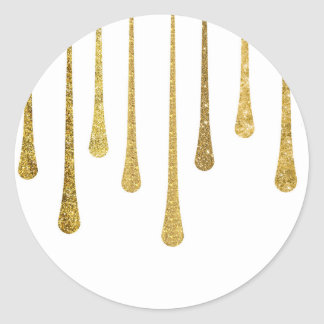 Gold Paint Drips Classic Round Sticker